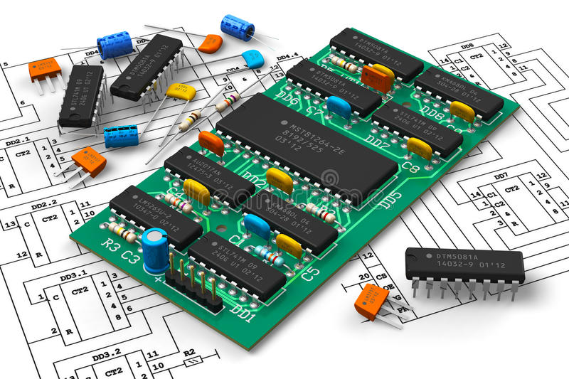 Digital circuit board with microchips. Electronics industry concept: digital circuit board with microchips over schematic diagram isolated on white background vector illustration