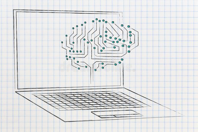 Digital circuit brain popping out of laptop screen. Concept of artificial intelligence stock photos