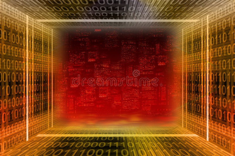 Digital city. Binary tunnel stock image