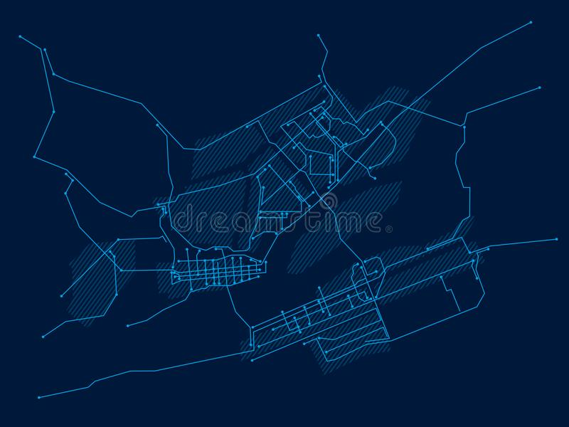 Digital city. Electronic circuit. Krasnoyarsk. Blue vector illustration