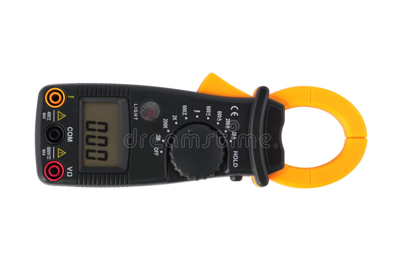 Digital clamp meter. Isolated stock photo