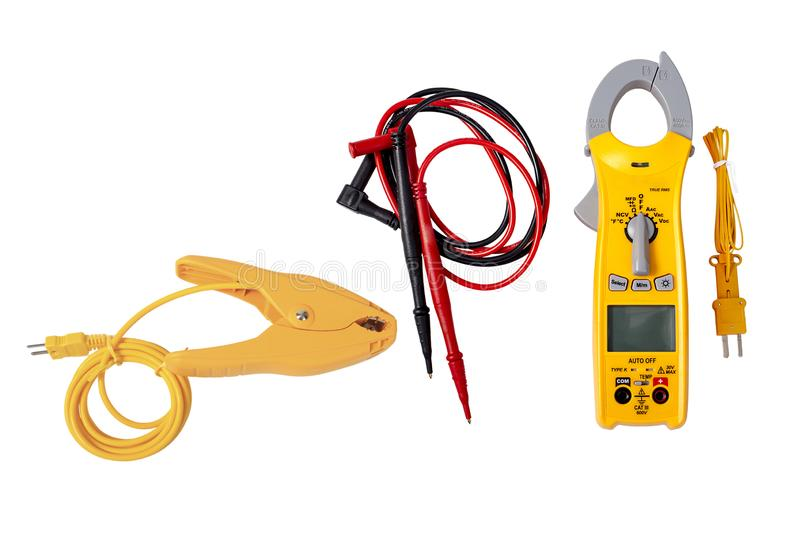 Digital Clamp Multimeter Isolated On White. A digital clamp multimeter for electricians and HVAC technicians, isolated on white stock images