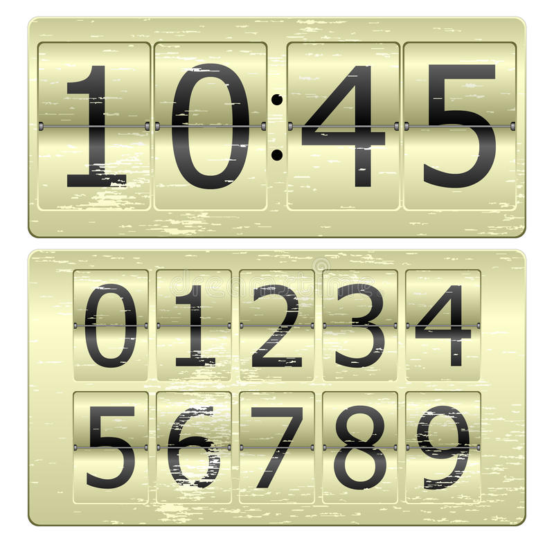 Digital Clock. Set of numbers for use as a clock or counter vector illustration