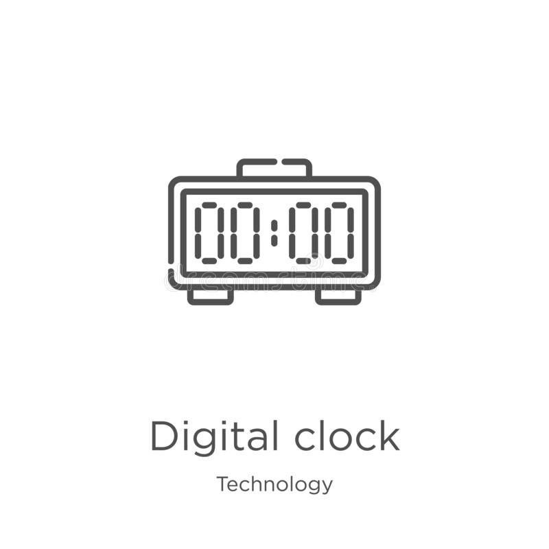 Digital clock icon vector from technology collection. Thin line digital clock outline icon vector illustration. Outline, thin line. Digital clock icon. Element royalty free illustration