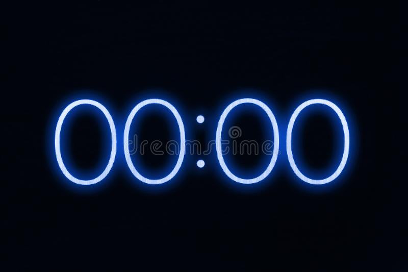 Digital clock timer stopwatch display showing 0 zero seconds. Emergency, stress, out of time concept. royalty free stock photography