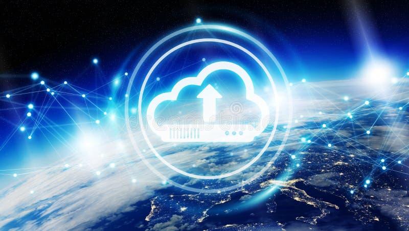 Digital cloud over planet Earth 3D rendering vector illustration