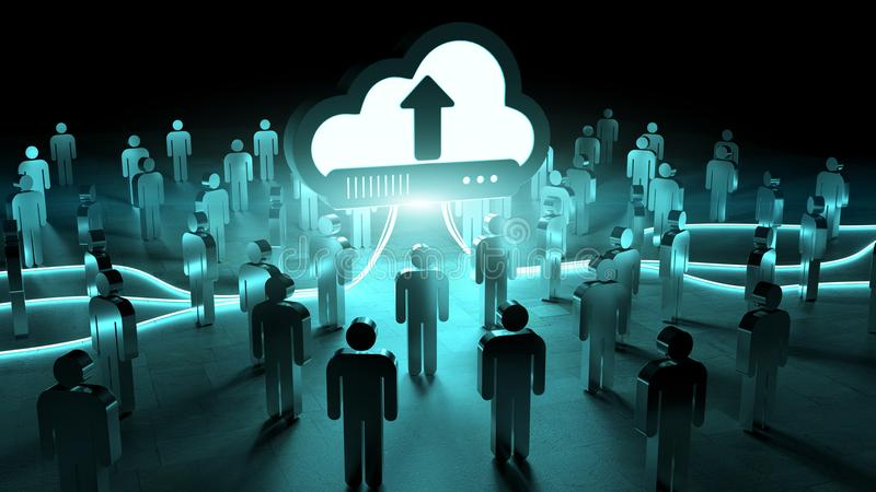Digital cloud illuminating a group of people 3D rendering royalty free illustration