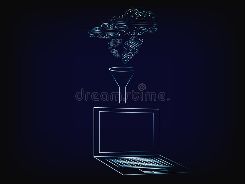 Digital clouds processed into laptop through a funnel vector illustration