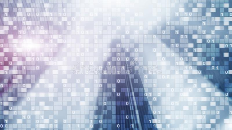 Digital code on blur city background. Abstract Binary code stock image