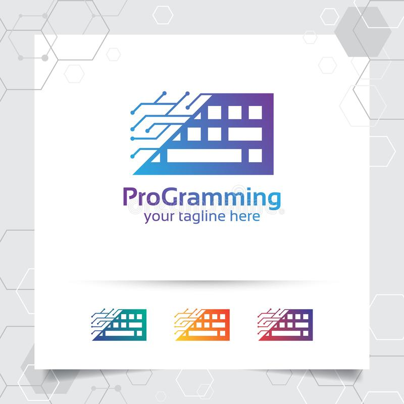 Digital coding logo vector design with concept of keyboard icon and programmer illustration for web development, UI/UX, desktop stock illustration