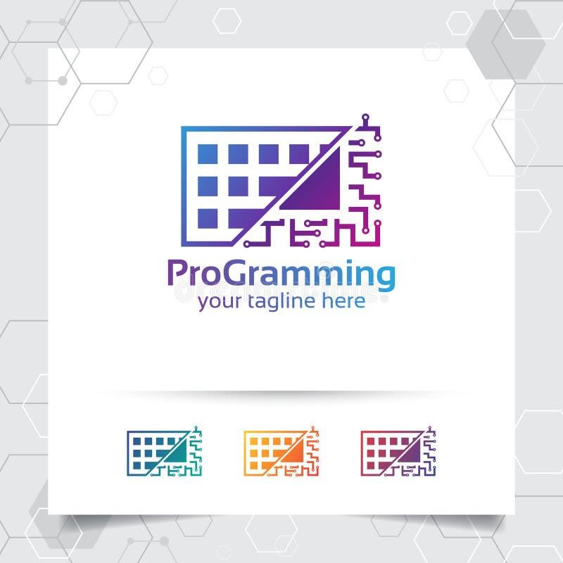 Digital coding logo vector design with concept of keyboard icon and programmer illustration for web development, UI/UX, desktop vector illustration