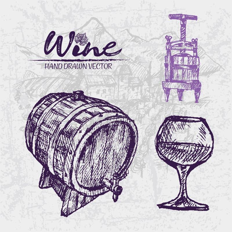 Digital color detailed line art wine press. Digital color detailed line art vintage wine press, wooden barrel and glass half full hand drawn illustration set royalty free illustration