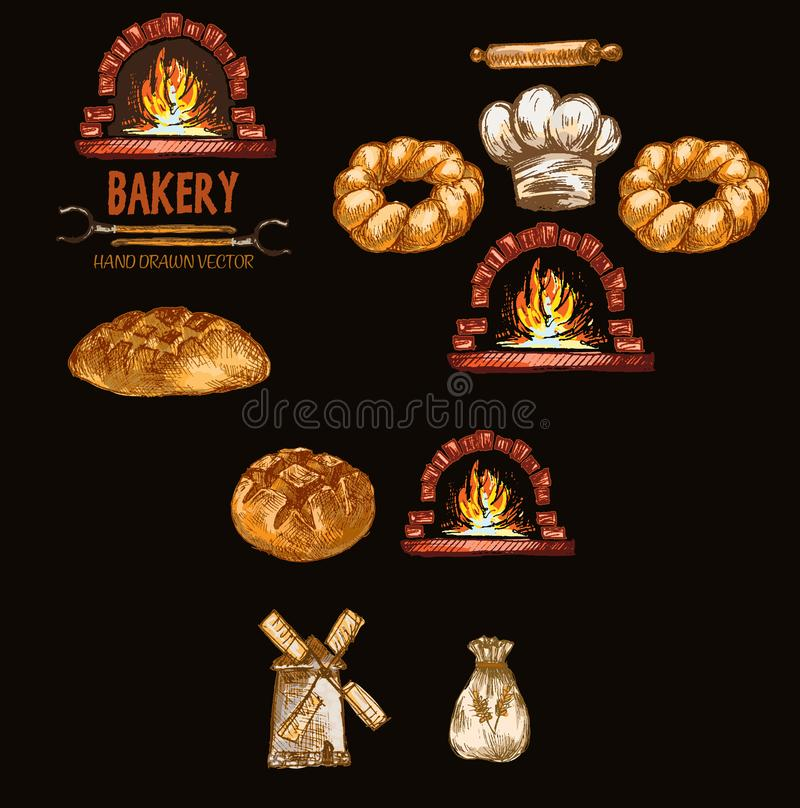 Digital color vector detailed line art round bread. Flour sack, red brick oven with woods on fire hand drawn retro illustration set outlined. Vintage ink flat royalty free stock photo