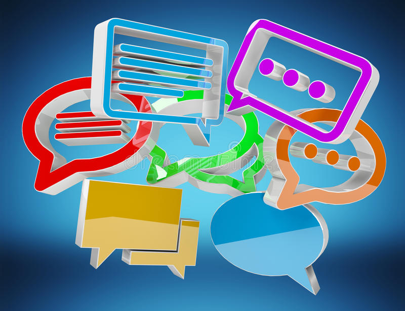 Digital colorful 3D rendering conversation icons royalty free illustration
