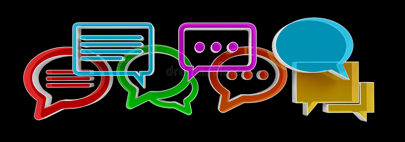 Digital colorful 3D rendering conversation icons stock illustration