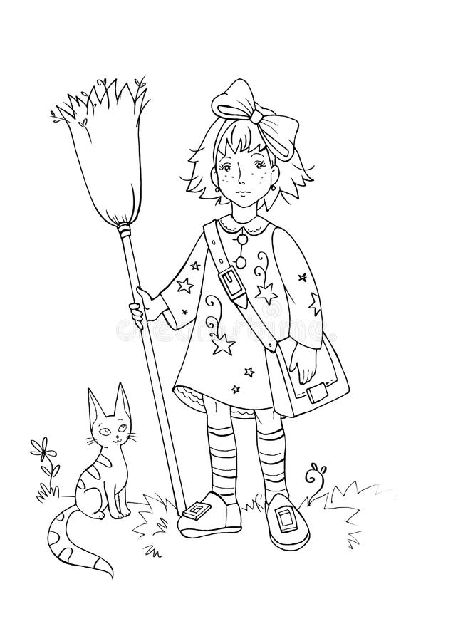 Digital coloring book illustration with pretty girl witch and her cat vector illustration