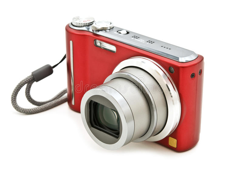 Digital compact camera. White on white background stock photo