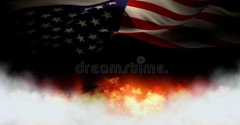 America flag and burning fire. Digital composite of America flag and burning fire royalty free illustration