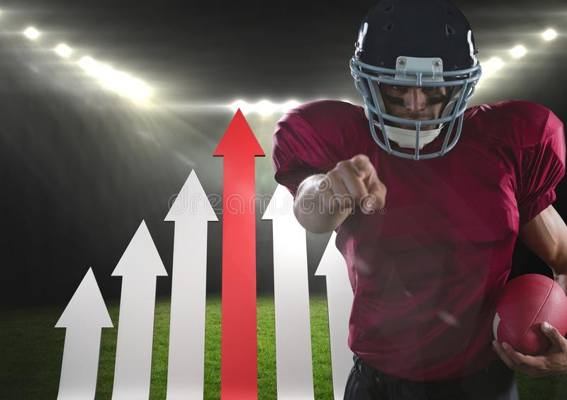 american football player pointing in stadium stock images