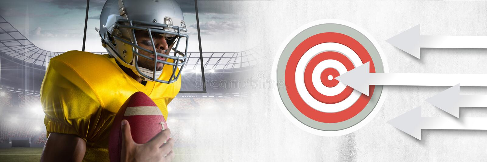 American football player with stadium transition and arrows pointing to target stock photography
