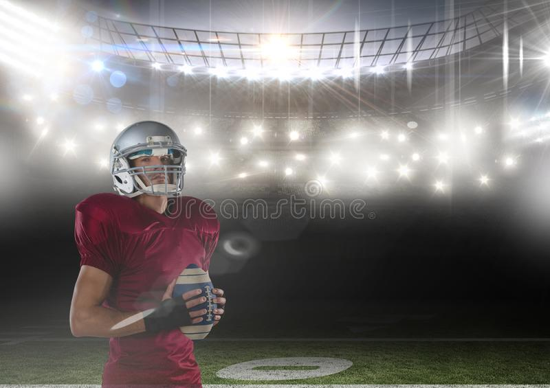 american football player standing in stadium royalty free stock photo