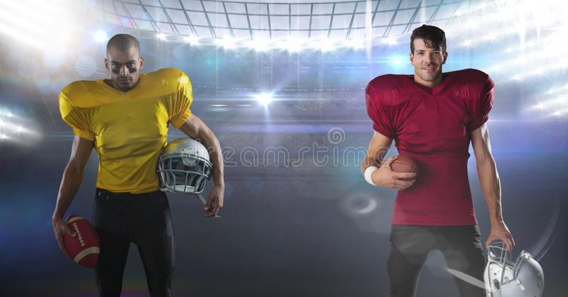 american football players standing in stadium royalty free stock photo
