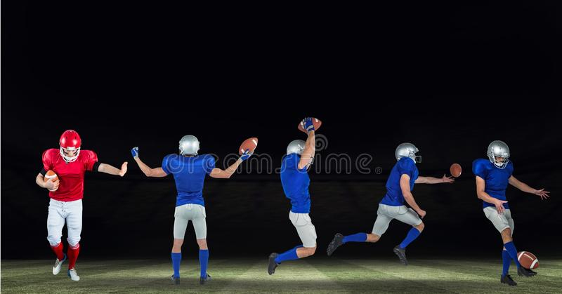 american football players wide on field black stock photo