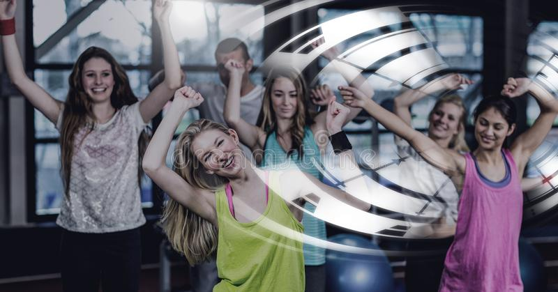 Athletic fit group of people in gym with circle interface stock photo