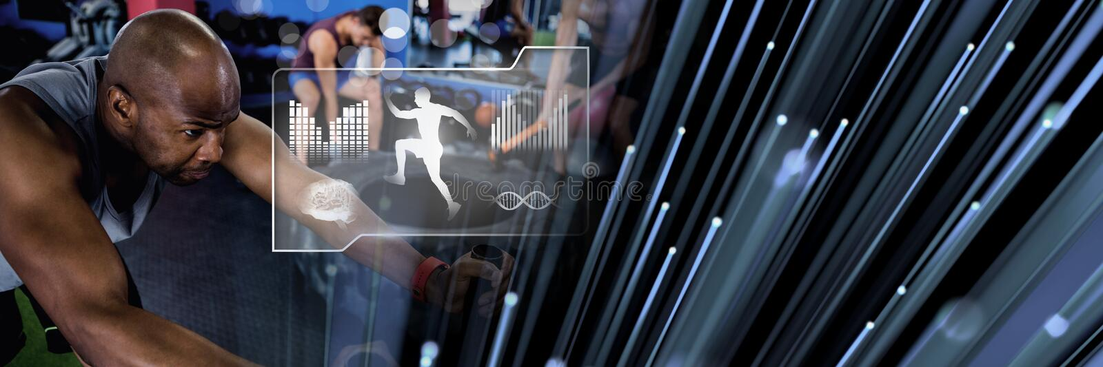 Athletic fit man in gym with health interface stock images