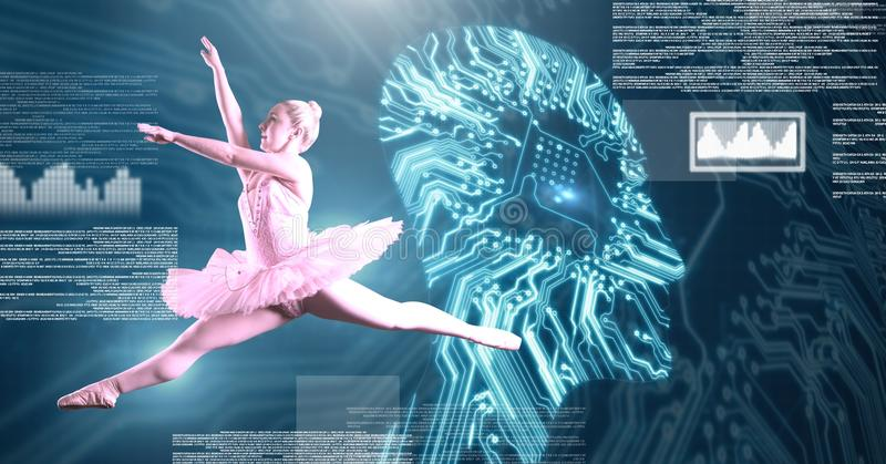 Ballet dancer dancing with digital human technology interface stock photo