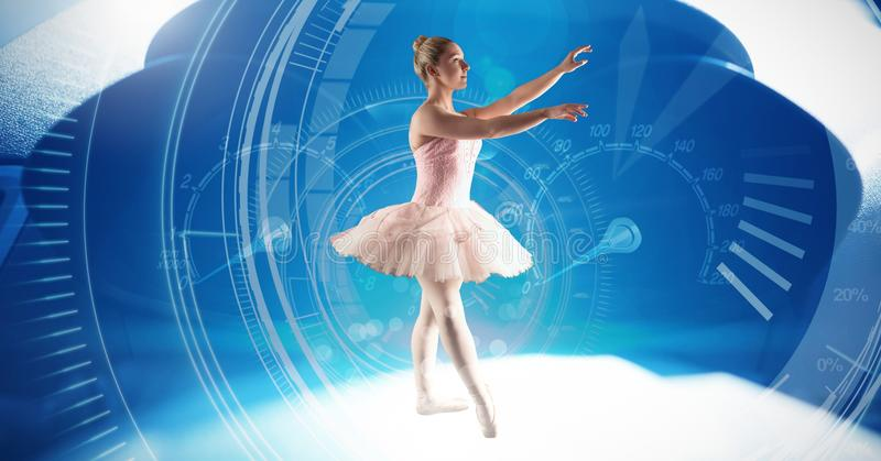 Ballet dancer dancing with digital technology interface stock photography