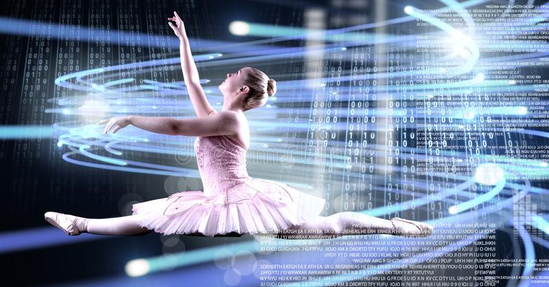 Ballet dancer dancing with digital technology interface and light glowing royalty free stock photos