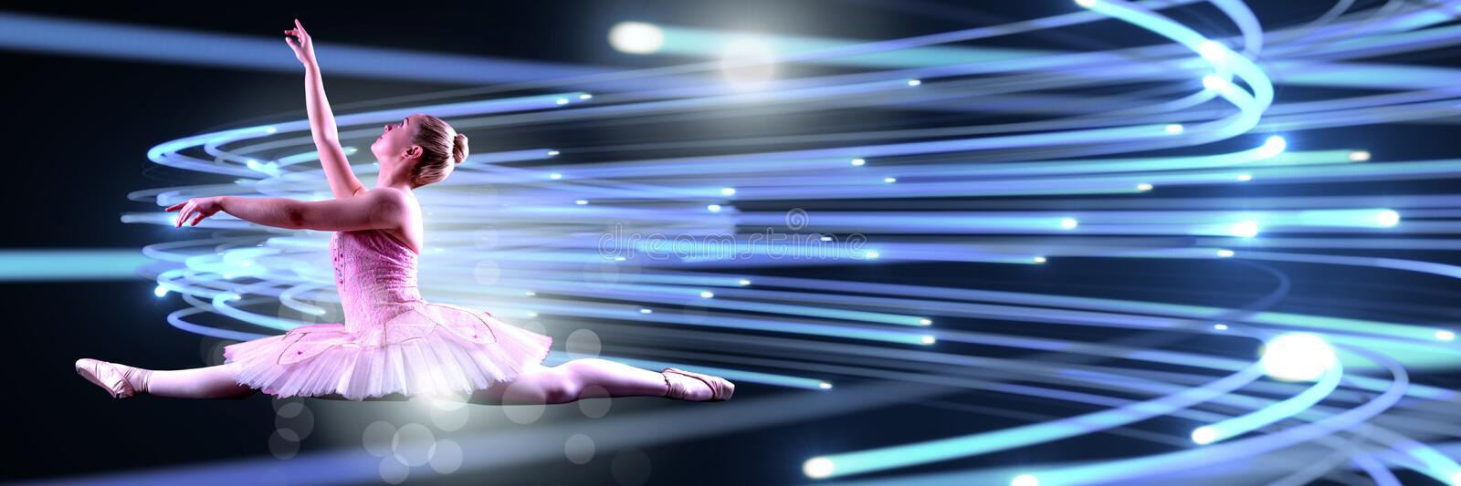 Ballet dancer dancing with digital technology interface and light glowing royalty free illustration