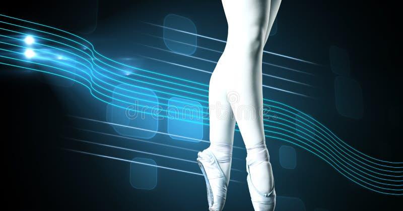 Ballet dancer with swish glowing curve motion design. Digital composite of Ballet dancer with swish glowing curve motion design stock image