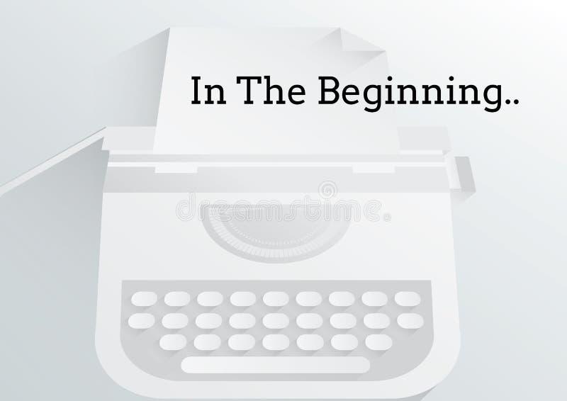 In The Beginning text written on typewriter. Digital composite of In The Beginning text written on typewriter royalty free stock image