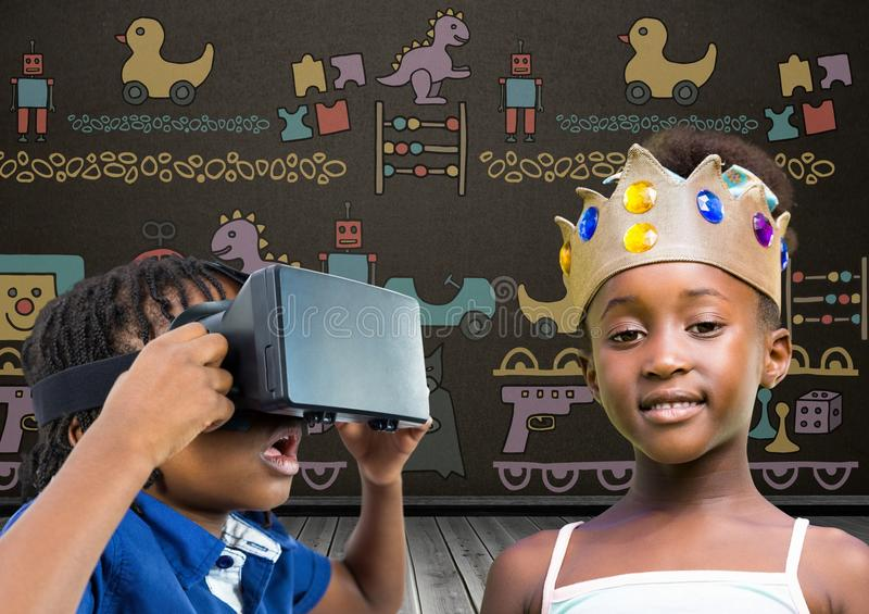 Boy with VR Headset and girl with crown in front of blackboard with toys graphics stock illustration