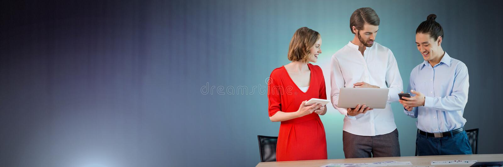 Business people working on laptop stock photo