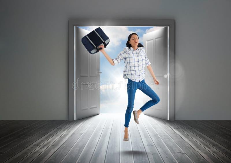 Download Businesswoman Floating In Door Stock Image   Image Of Clear, Dark:  101766307
