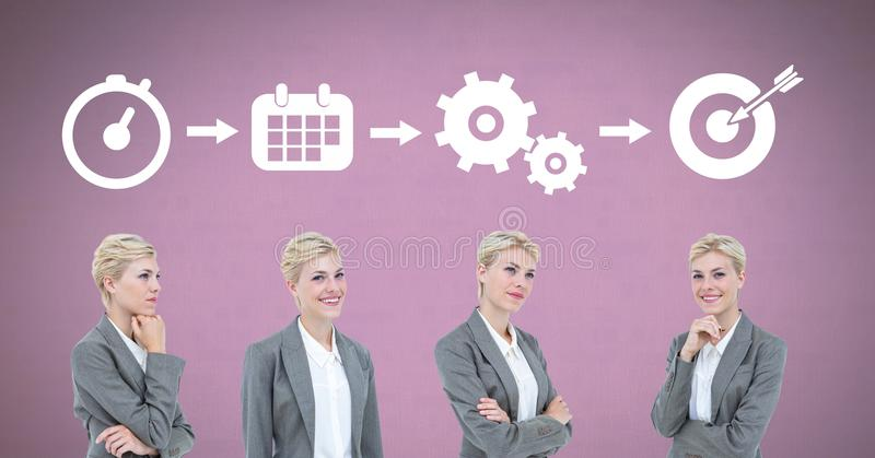 Businesswoman thinking in sequence with ideas and brainstorm process icons stock photography