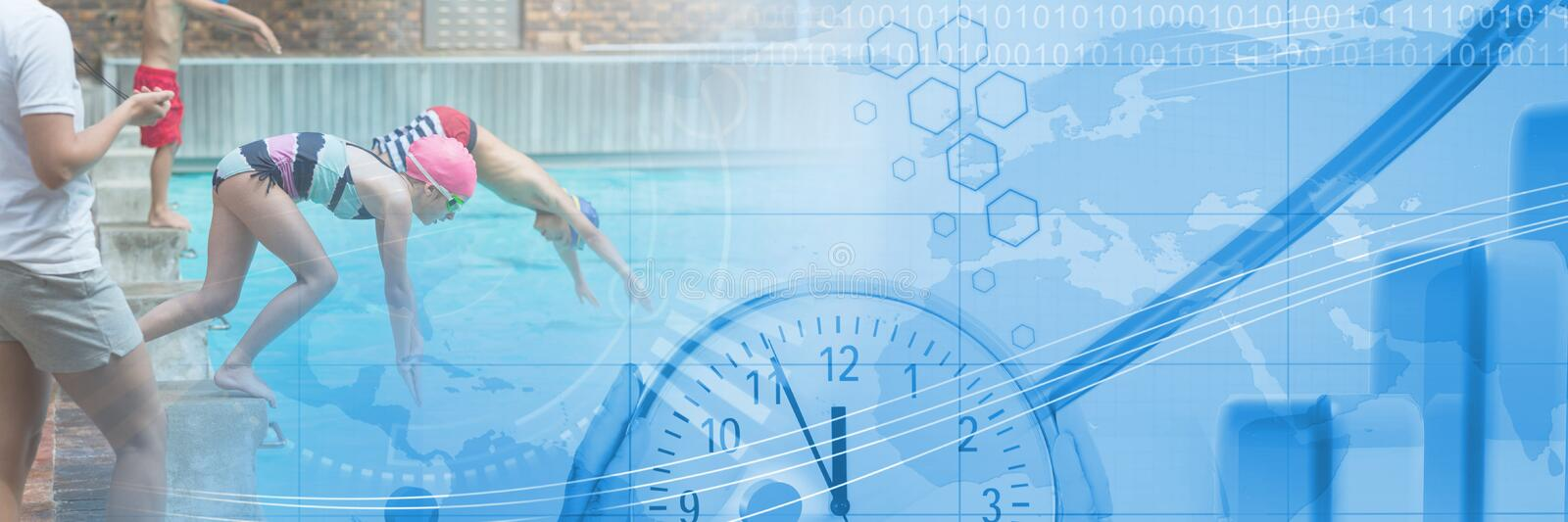 Children diving into Swimming pool with transition and time clock and map of world stock photography