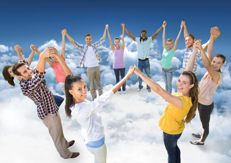Circle of people on clouds in sky stock images