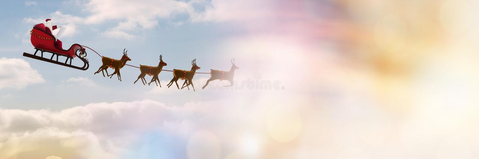 Cloudy sky transition of Santa`s sleigh and reindeer`s stock photo