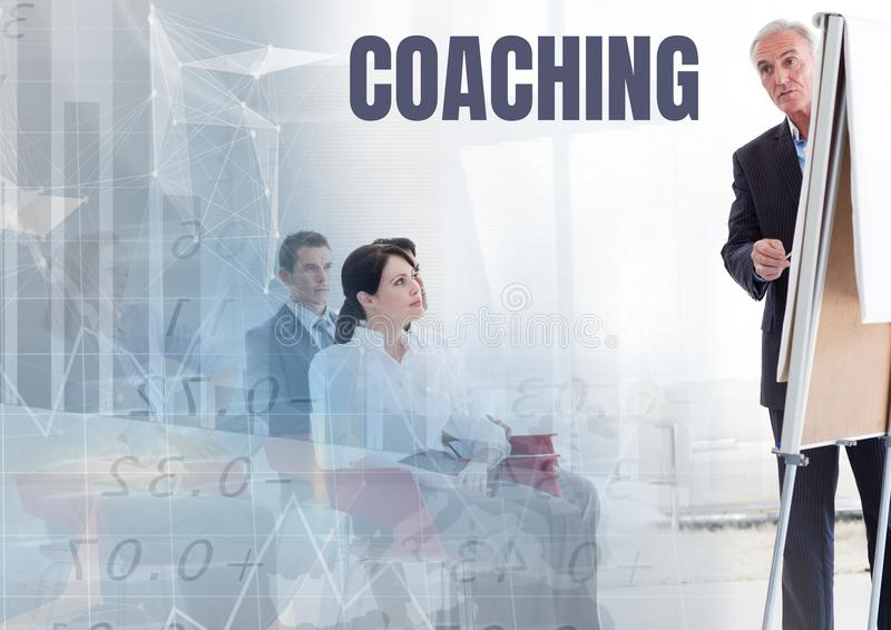 Coaching text and Business economics teacher with class royalty free stock images