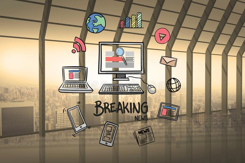 Digital composite of computer and breaking news surrounded with various icons royalty free stock photography