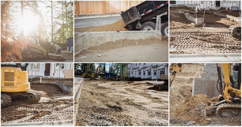 Construction work collage. Digital composite of construction work collage royalty free stock photos