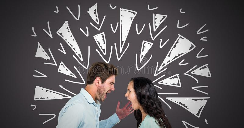 Couple arguing and fighting with triangle doodles on grey background stock image