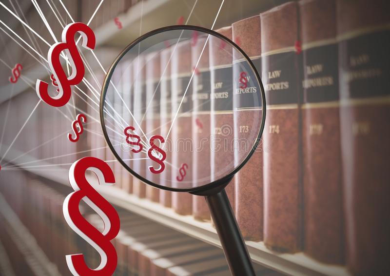 3D Magnifying glass over books with section symbol icons royalty free illustration