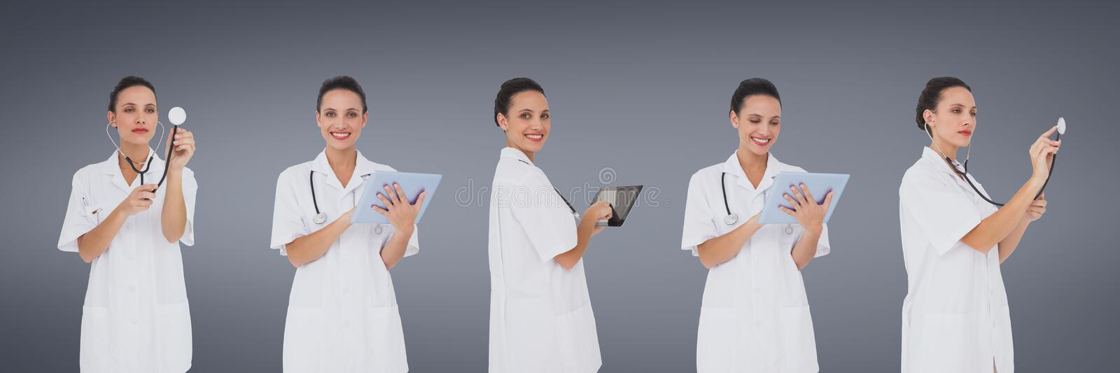 Doctor woman holding devices collage against blue background stock images