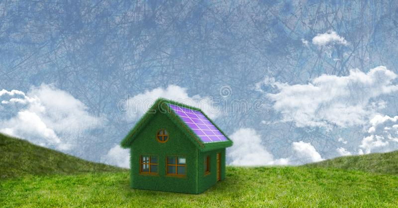 Eco solar panel house in green field royalty free stock image
