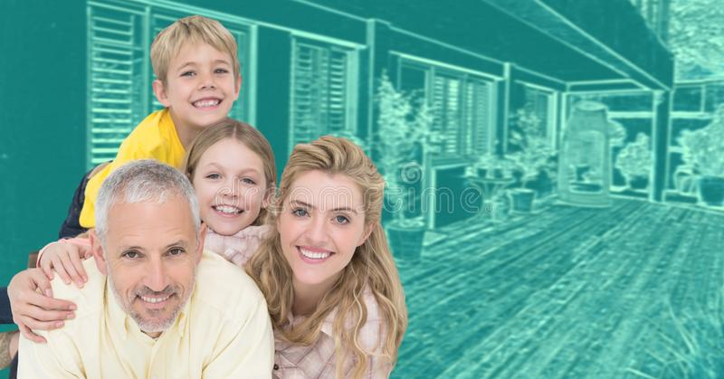 Family in front of house drawing sketch stock photos